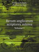 Pdf Rerum anglicarum scriptores veteres Telecharger
