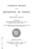 Fundamental Principles of the Metaphysics of Ethics