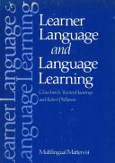 Learner Language and Language Learning Book