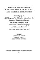 Language and Literature in the Formation of National and Cultural Communities