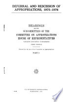 Deferral and Rescission of Appropriations  1975 1976 Book