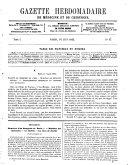 Gazette hebdomadaire de médecine et de chirurgie
