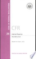 Code Of Federal Regulations Title 26 Internal Revenue Pt 600 End Revised As Of April 1 2011