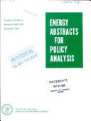 Energy Abstracts for Policy Analysis Book