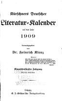 Kürschners deutscher Literatur-Kalender auf das Jahr....