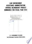 Juvenile Delinquency Project Summaries Book