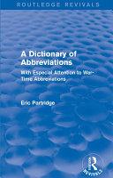 A Dictionary of Abbreviations