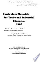 Curriculum Materials for Trade and Industrial Education, 1963