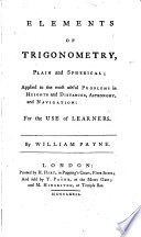 Elements of Trigonometry, Plain and Spherical