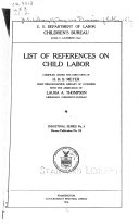 List of Books (with References to Periodicals) Relating to Child Labor