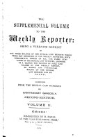 The Supplemental Volume to the Weekly Reporter
