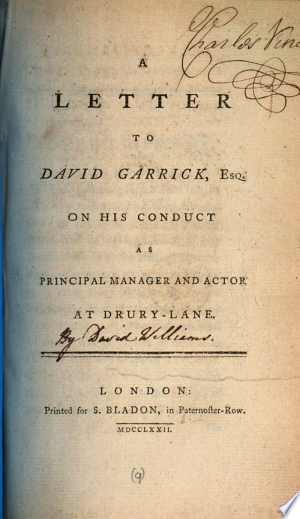 Download A Letter to David Garrick, Esq. on His Conduct as Principal Manager and Actor at Drury-Lane PDF