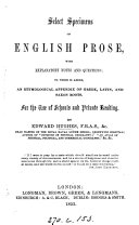 Select specimens of English prose  ed   by E  Hughes