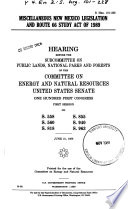 Miscellaneous New Mexico Legislation and Route 66 Study Act of 1989 Book