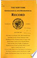 The New York Genealogical and Biographical Record  , Volume 138,Edições 1-4