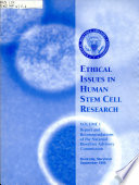 Ethical Issues in Human Stem Cell Research Book