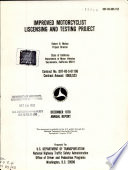 Improved Motorcyclist Liscensing I E Licensing And Testing Project Book PDF