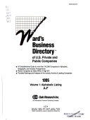 Ward's Business Directory of U.S. Private and Public Companies, 1995: Alphabetic listing, A-F