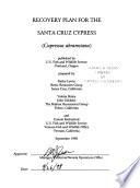 Recovery Plan For The Santa Cruz Cypress Cupressus Abramsiana