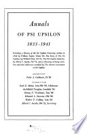 Annals Of Psi Upsilon 1833 1941