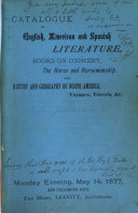 Catalogue of  a  Collection of Books on Various Departments of Literature