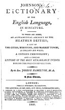 Johnson s Dictionary on the English Language in Miniature