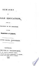 Remarks on Female Education  with an Application of Its Principles to the Regulation of Schools