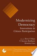 Modernizing Democracy Innovations In Citizen Participation