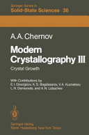 Modern Crystallography: Crystal growth