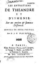 Les entretiens de Théandre et d'Isménie sur un ancien et fameux différend