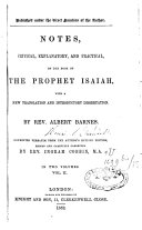 Notes Critical, Explanatory and Practical on the Book of the Prophet Isaiah