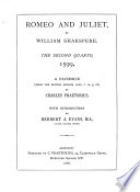Romeo and Juliet by William Shakspere Book