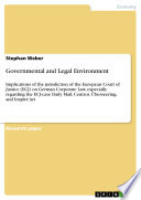 Governmental and Legal Environment