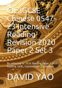CIE IGCSE Chinese 0547 23 Intensive Reading Revision 2020 Paper 2 Set 3
