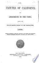 The Statutes of California Book