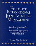 Effective International Joint Venture Management
