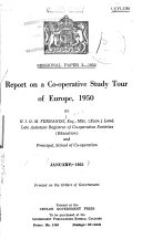 Report on a Co operative Study Tour of Europe  1950