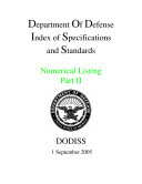 Department Of Defense Index of Specifications and Standards Numerical Listing Part II September 2005 Pdf/ePub eBook