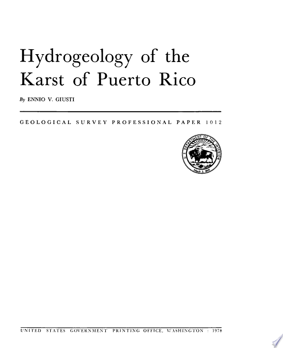 Hydrogeology of the karst of Puerto Rico