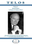 Telos Volume V   Special Edition in Honour of Guido de Marco