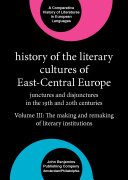Pdf History of the Literary Cultures of East-Central Europe Telecharger