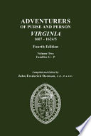 Adventurers Of Purse And Person Virginia 1607 1624 5 Families G P Book PDF