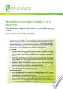 Monitoring the impact of COVID 19 in Myanmar  Mechanization service providers     June 2020 survey round
