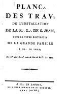 Planc des Trav. de l'Installation de la R. L. de S. Jean, sous le titre distinctif de la Grande Famille à l'O. de Spire