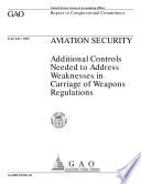 Aviation security   additional controls needed to address weaknesses in carriage of weapons regulations   report to congressional committees Book