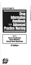 Drug Information Handbook for Advanced Practice Nursing Book