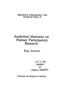 Analytical Abstracts on Farmer Participatory Research