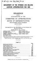 Department of the Interior and Related Agencies Appropriations for 1999