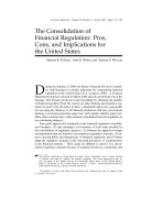 Consolidation of Financial Regulation: Pros, Cons, and Implications for the United States Pdf
