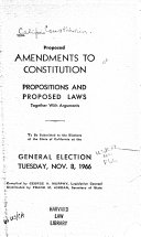 Proposed Amendments to Constitution